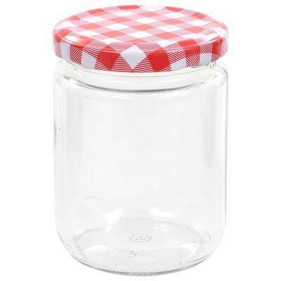 vidaXL Jampotten met wit met rode deksels 48 st 230 ml glas