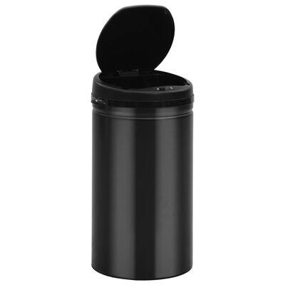 vidaXL Prullenbak met automatische sensor 50 L koolstofstaal zwart