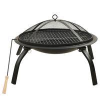 vidaXL Vuurplaats en barbecue 2-in-1 met pook 56x56x49 cm staal