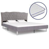 vidaXL Bed met traagschuim matras stof lichtgrijs 180x200 cm