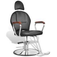 Kappersstoel met hoofdsteun professioneel kunstleer zwart