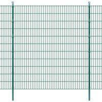 vidaXL Dubbelstaafmatten en palen 2008x2230 mm 40 m groen