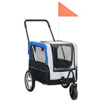 vidaXL Huisdierenfietskar 2-in-1 aanhanger en loopwagen grijs en blauw