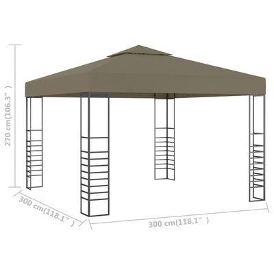 vidaXL Tuinpaviljoen 180 g/m² 3x3 m taupe
