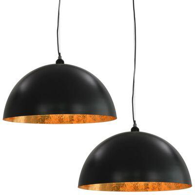 vidaXL Plafondlampen 2 st halfrond E27 50 cm zwart en goudkleurig