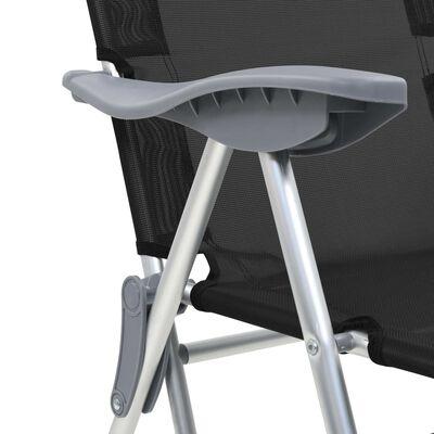 vidaXL Campingstoelen met voetensteun inklapbaar aluminium zwart 2 st