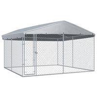 vidaXL Hondenkennel voor buiten met dak 382x382x225 cm