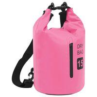 vidaXL Drybag met rits 15 L PVC roze