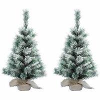 2x Mini Kerstbomen Besneeuwd 45 Cm - Kleine Kerstboompjes Met Sneeuw