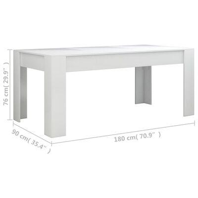 vidaXL Eettafel 180x90x76 cm spaanplaat hoogglans wit