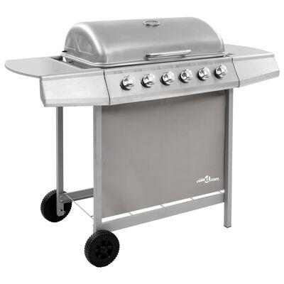 vidaXL Gasbarbecue met 6 branders zilverkleurig