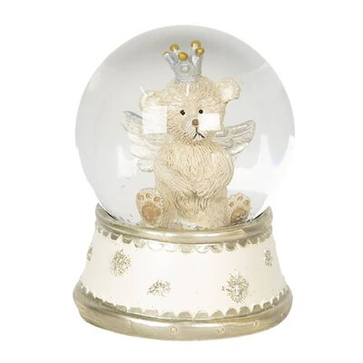 Sneeuwbol | Ø 6*8 cm | Creme | Polyresin / glas | rond | beer | Clayre
