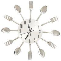 vidaXL Wandklok lepel-en-vork 31 cm aluminium zilverkleurig