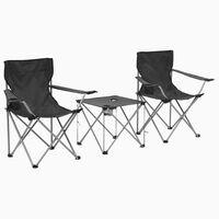 vidaXL Campingtafel en -stoelenset grijs 3-delig