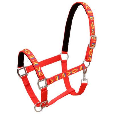 vidaXL Hoofdstellen voor paard maat cob nylon rood 2 st
