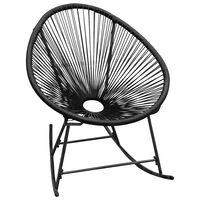 vidaXL Tuinschommelstoel poly rattan zwart