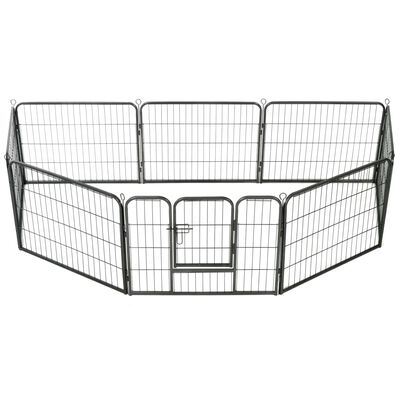 vidaXL Hondenren met 8 panelen 60x80 cm staal zwart