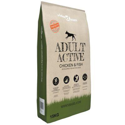 vidaXL Premium hondenvoer droog Adult Active Chicken & Fish 30kg 2 st
