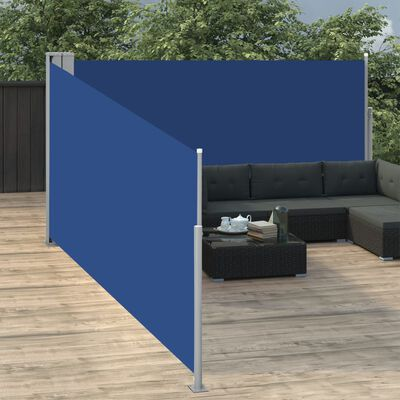 vidaXL Windscherm uittrekbaar 140x1000 cm blauw