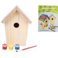 Esschert Design Doe-het-zelf vogelhuis met verf 14.8x11.7x20 cm KG145