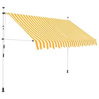 vidaXL Luifel handmatig uittrekbaar 250 cm geel en witte strepen