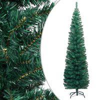 vidaXL Kunstkerstboom met standaard smal 210 cm PVC groen