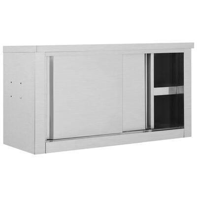 vidaXL Keukenwandkast met schuifdeuren 90x40x50 cm roestvrij staal