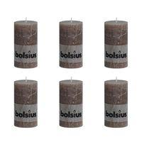 Bolsius Rustieke Stompkaarsen 130 x 68 mm 6 stuks taupe