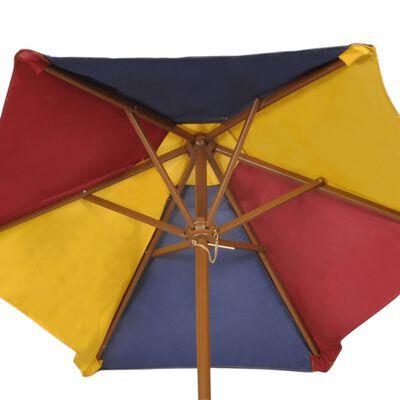 vidaXL Kinderpicknicktafel met banken en parasol hout meerkleurig