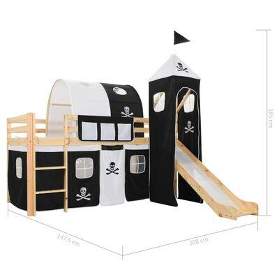 vidaXL Kinderhoogslaper met glijbaan en ladder 97x208 cm grenenhout