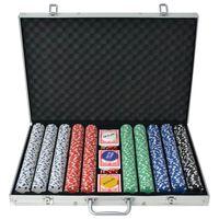 vidaXL Pokerset met 1000 chips aluminium