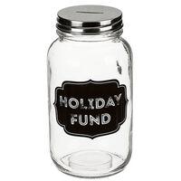 Glazen spaarpot vakantie geld Holiday Fund 18 cm