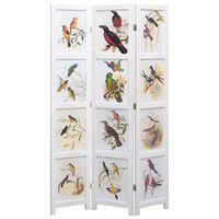 vidaXL Kamerscherm met 5 panelen vogel 175x165 cm wit