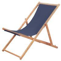 vidaXL Strandstoel inklapbaar stof en houten frame blauw