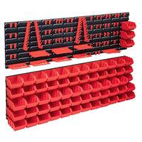 vidaXL 141-delige Opslagbakkenset met wandpanelen rood en zwart