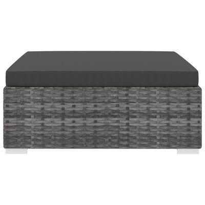 vidaXL Voetensteun 1 st met kussen poly rattan grijs