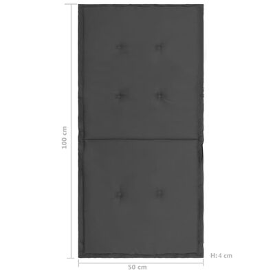 vidaXL Tuinstoelkussens 2 st 100x50x4 cm antracietkleurig