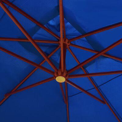 vidaXL Zweefparasol met houten paal 400x300 cm blauw