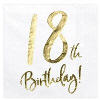 60x Witte 18 Jaar leeftijd verjaardag servetjes 33 cm - Servetten 18