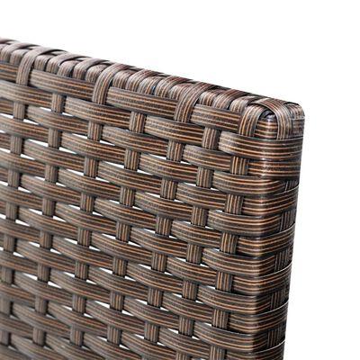 vidaXL 3-delige Loungeset met kussens poly rattan bruin