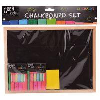 Houten krijtbord/schoolbord 29 cm met krijt en bordenwisser -