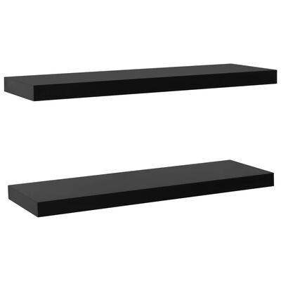 vidaXL Wandschappen zwevend 2 st 100x20x3,8 cm zwart