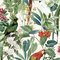 DUTCH WALLCOVERINGS Behang tropische vogels wit en groen