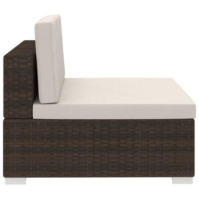vidaXL 3-delige Loungeset met kussens poly rattan bruin , Bruin