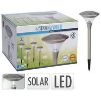 ProGarden Tuinlampen 4 st LED solar 14 cm roestvrij staal