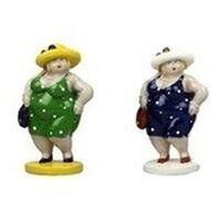 2x Dikke staande dames beeldjes 15 cm in groene/donkerblauwe jur