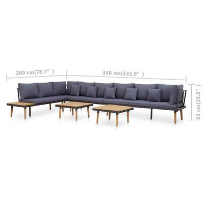 vidaXL 7-delige Loungeset met kussens massief acaciahout
