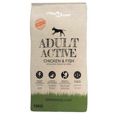 vidaXL Premium hondenvoer droog Adult Active Chicken & Fish 15kg