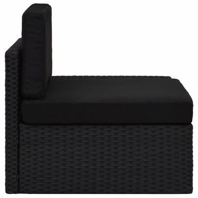 vidaXL Hoekbank met linkerarmleuning sectioneel poly rattan zwart