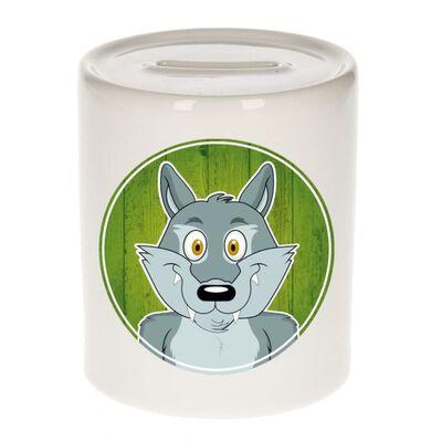 Vrolijke wolf dieren spaarpot 9 cm - keramiek - spaarpotten voor